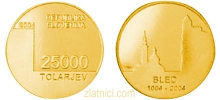 Zlatnik 25000 tolarjev Bled, 1000 let, Slovenija, zlatna kovanica