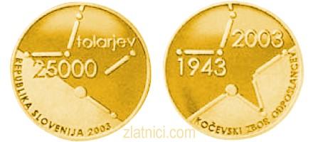 Zlatnik 25000 tolarjev Kočevski zbor, Slovenija