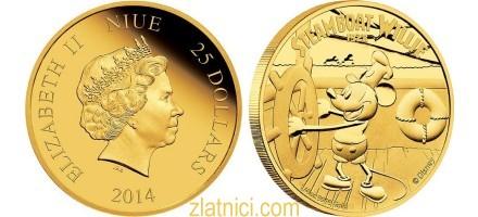 Zlatnik 25 dollars Mickey Mouse Steamboat Willie