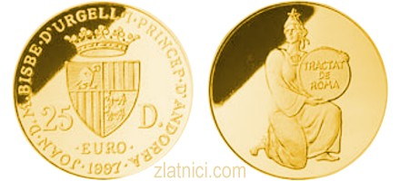 Zlatnik 25 diner Rimski ugovor Andora