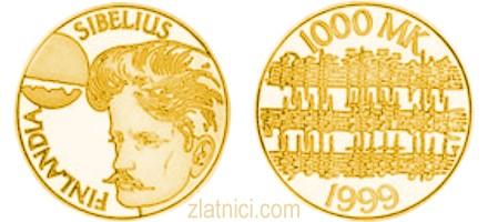 Zlatnik 1000 markkaa Sibelius, Finska